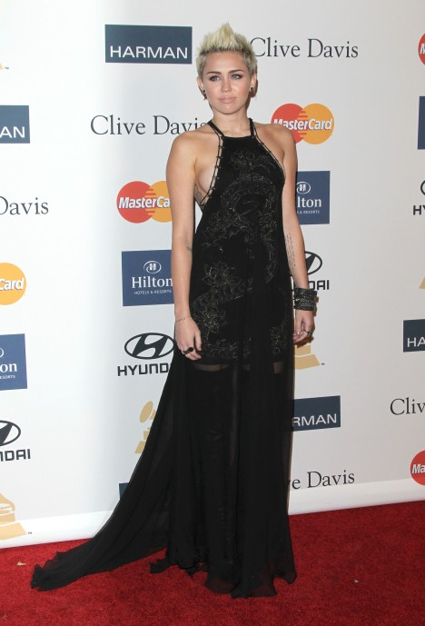 Miley Cyrus arrives at The 55th Annual GRAMMY Awards - Pre-GRAMMY Gala And Salute To Industry Icons Honoring L.A. Reid
